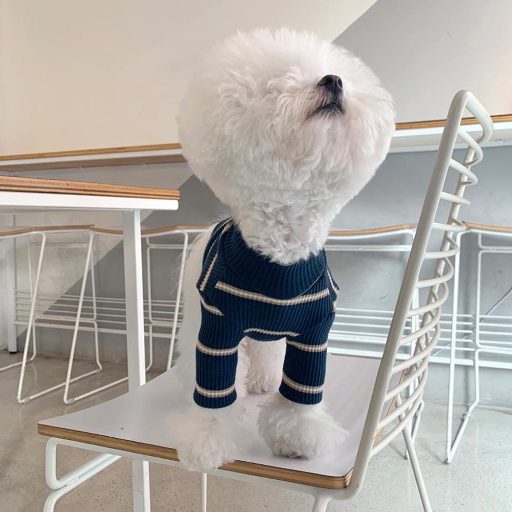 매그독 멜랑 스트라이프 반려동물 티셔츠