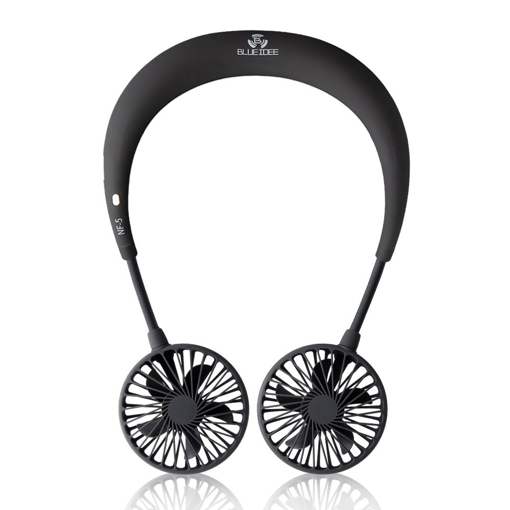 블루아이디 넥밴드 휴대용 선풍기 핸즈프리, BI-NF5, 블랙