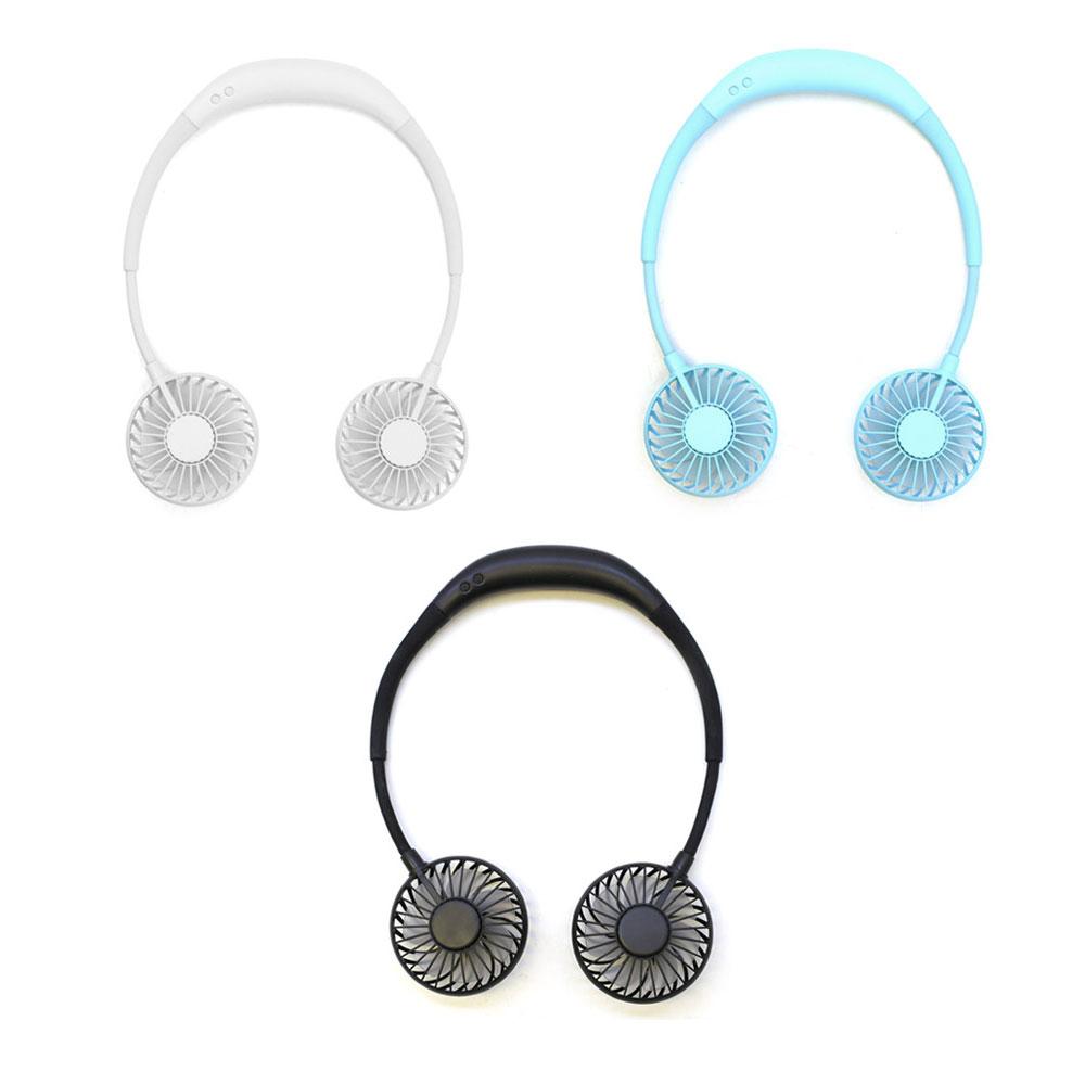삼우힐링라이프 LED 넥 밴드형 듀얼 선풍기, 블루, 넥선풍기