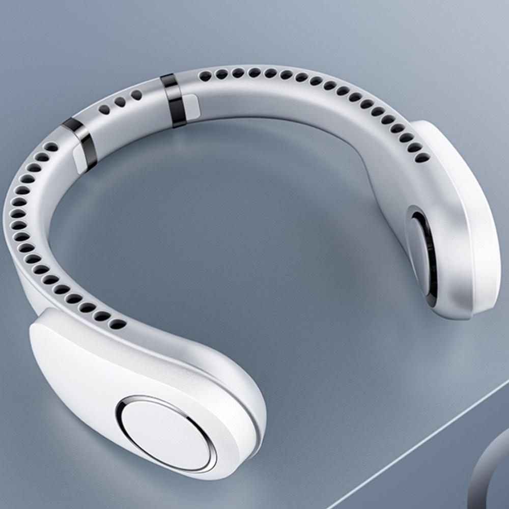 충전식 USB 넥풍기 목풍기 넥밴드 선풍기 목에거는 넥선풍기, 화이트